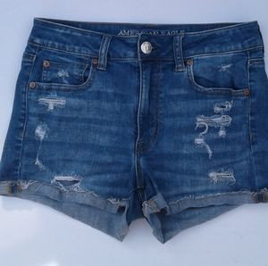 American Eagle high rise shortie destroyed shorts